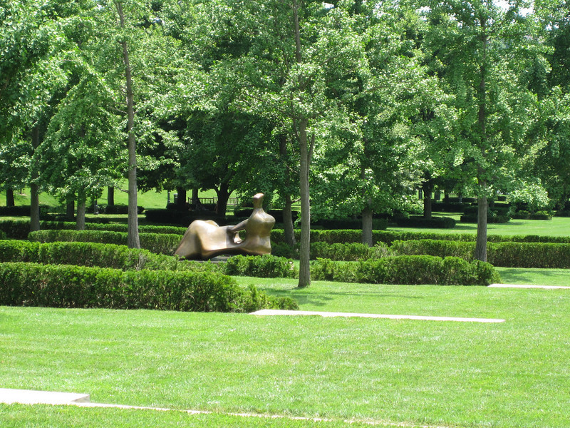 The sculpture park contained several large Henry Moore pieces.