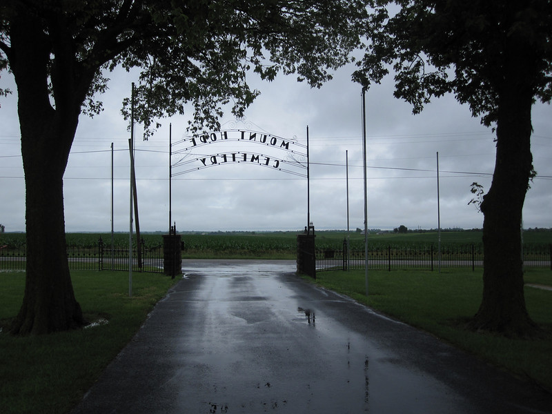 "On June 15, Carol and I took another ""mini-tour"" of two cemeteries.  First we drove to Hiawatha, Kansas, to visit Mt. Hope Cemetery, specifically the Davis Memorial.  It had been raining heavily before we got there, but luckily we did not get drenched during our visit."
