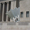 I enjoyed the contrast of the shuttlecock against the classical facade of the museum building.