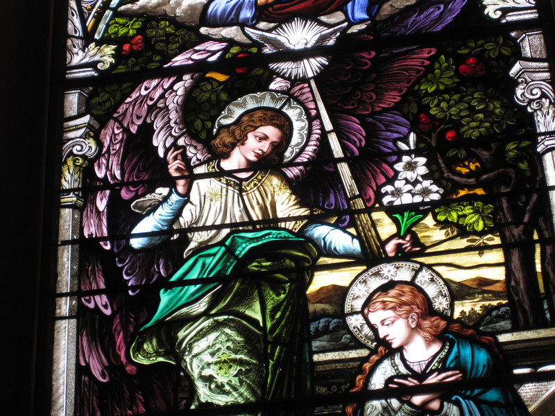 The stained glass windows, imported from Germany, were gorgeous.  This one depicts the Anunciation.