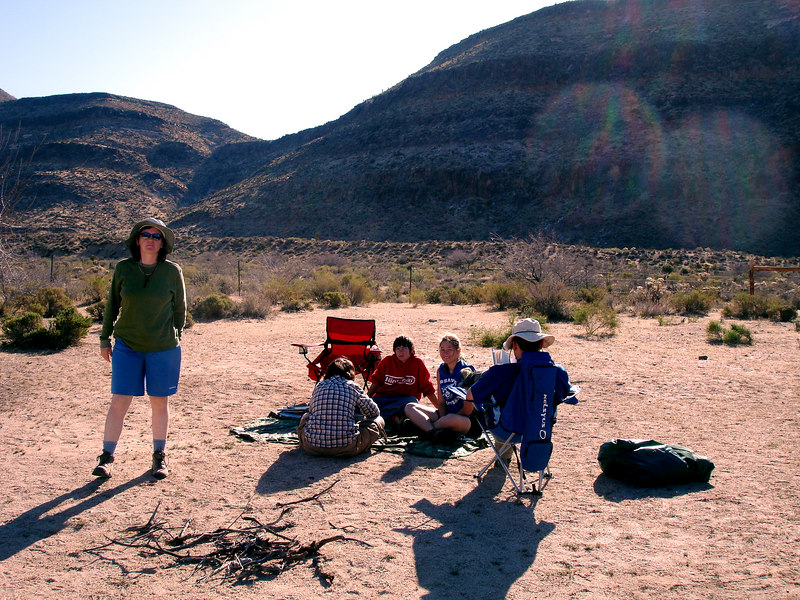 Rae, Bo and the kids after packing the tents. They are ready for the next adventure.