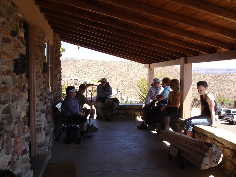 Visitor Center patio (4,300 ft) at Providence Mountains State Recreation Area provides a panorama of the the Mojave desert.