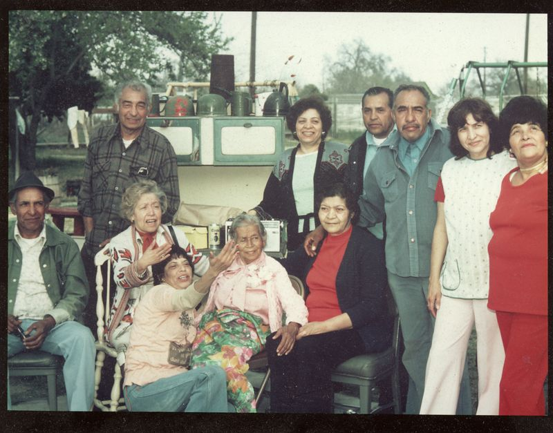 L to R: Pete, Joe,  Sally, Ramona, Josie, Alice (standing), Manuel, Mike, Elia, Mary - anyone know who is seated to Grandma Josie's left?