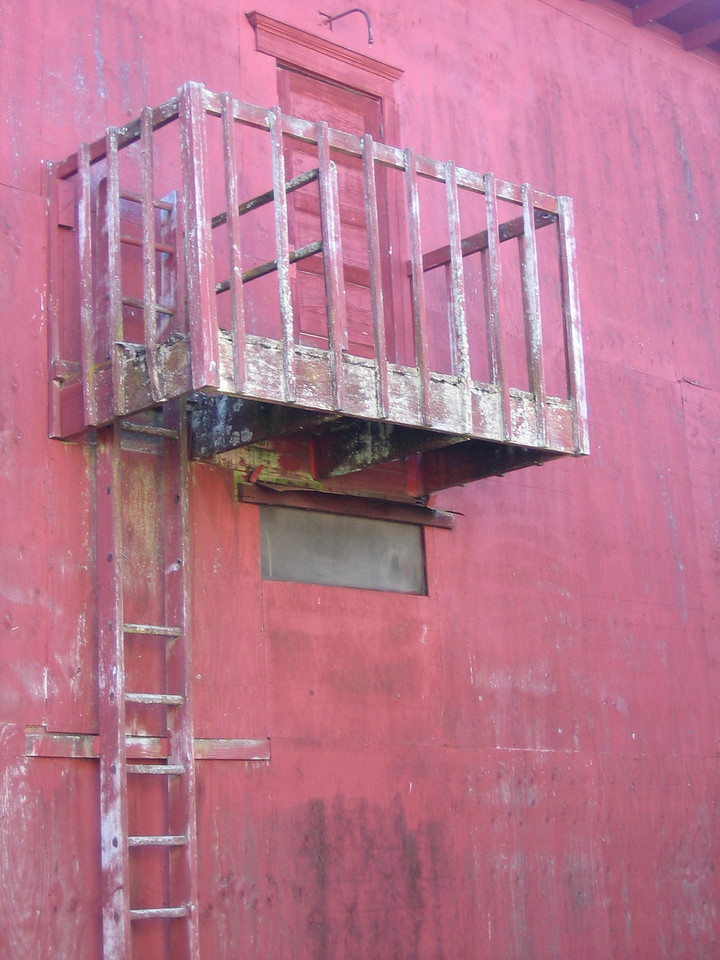 Wooden fire escape on Whidbey Island