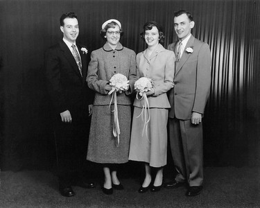 1954 March 27 Uncle Kenny, Aunt Janet, Mom & Dad Wedding Portrait
