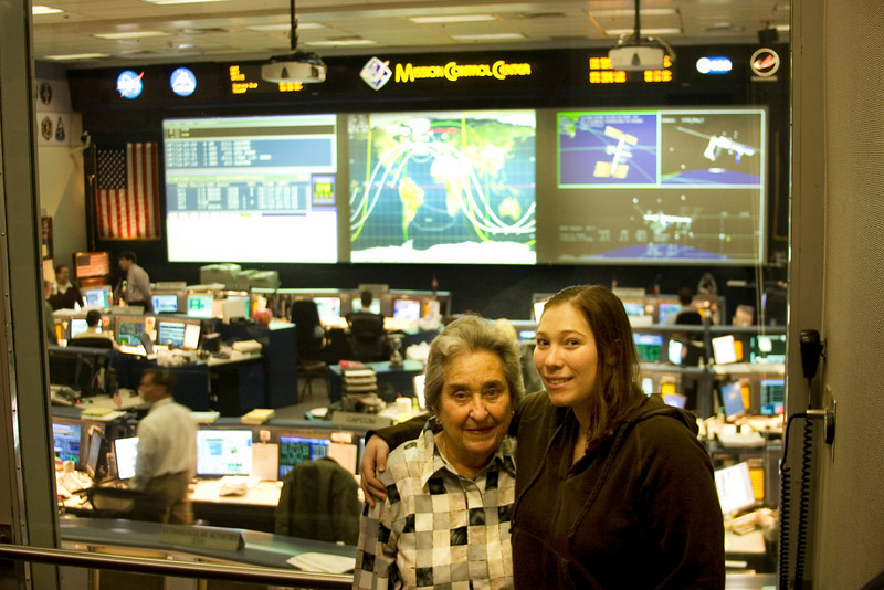 Michaela and Grammy, Space Shuttle Mission Control, Johnson Space Center, Houston, February 2008