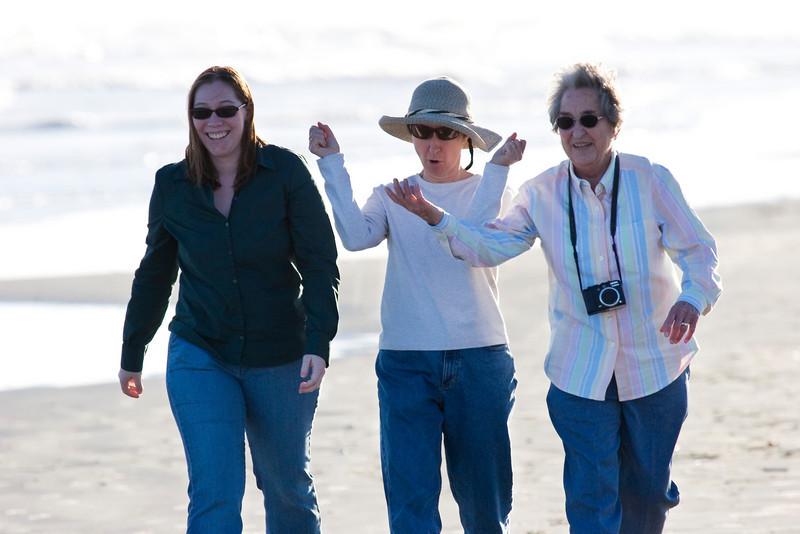 Michaela, Myra, Mom M, Galveston Island State Park, February 2008