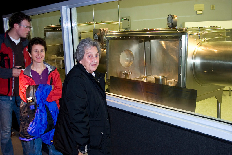 Myra & Mom check out some moon rocks, Space Center Houston, February 2008