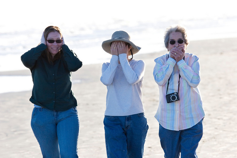 Hear no evil, see no evil, speak no evil, Galveston Island State Park, February 2008