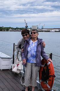 Mom & Suze onboard a gundalow, in Portsmouth, NH