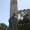 Christopher Columbus in front of the Coit Tower.