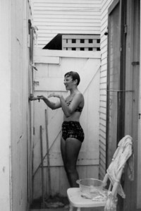 Priscilla Swain taken at outdoor shower at place where Larry lived 1961, Mission Beach, Calfiornia