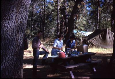 camping in Laguna Mountains near San Diego, Bob Kulas his wife, Joan and Priscilla Jones circa 1963
