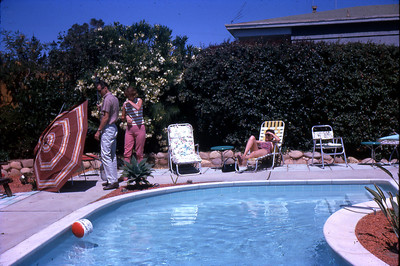 friends around the pool at the home of Sally Bavis's parents (Sally married Cliff Taylor) circa 1962