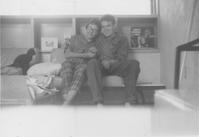 Priscilla and Larry Jones in their first aparment on Thomas Street in San Diego, cat is Licorice 1961