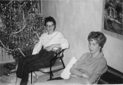 Priscilla Jones, Sally Taylor, Christmas 1961, San Diego, California