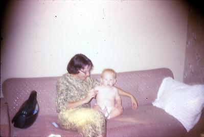 Pruscilla Jones and nephew, David Gorman, 1962