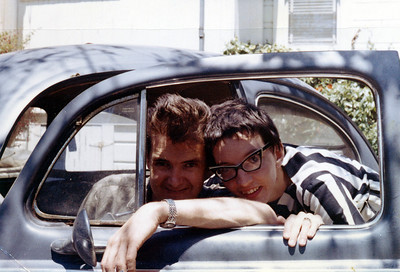 """Larry and Priscilla Jones in VW affectionetely known as """"Old Rust"""" circa 1962"""