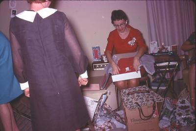 Christmas at Shirley Gorman's apartment, San Diego, circa 1967 Priscilla Jones (in red) shirley's back