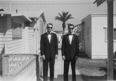 Clifford Taylor and Bob Kulis on Cliff's wedding day,  1961 Mission Beach, California
