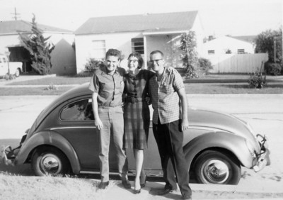 """Larry and Priscilla Jones and Bill Shaw and VW known as """"old Rust"""" 1961"""