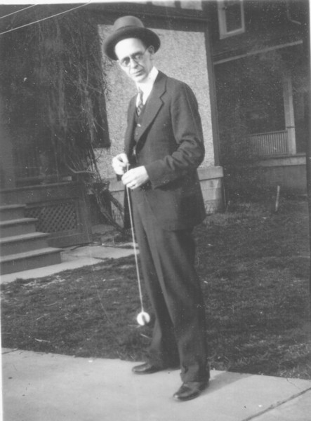 H. Elliott Marean Sr, in the backyard of his home at 139 Leroy St, Binghamton, NY. He was a partner in Marean Lauder clothing.