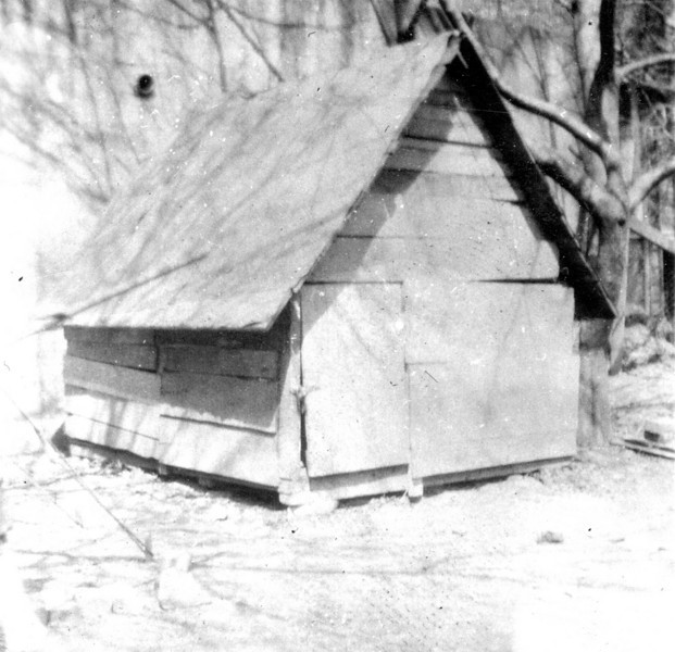 A hut built on the empty lot at 66 Lathrop Ave.