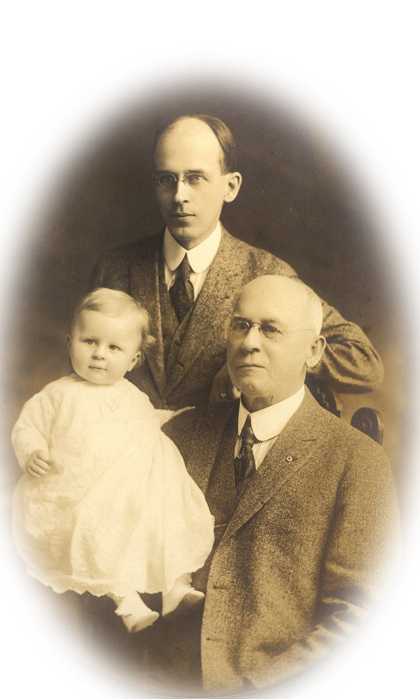 Three generations of Mareans. Grandfather Henry Marean, father H Elliott Marean, Sr and Henry E Marean, Jr, probably late 1916 or early 1917