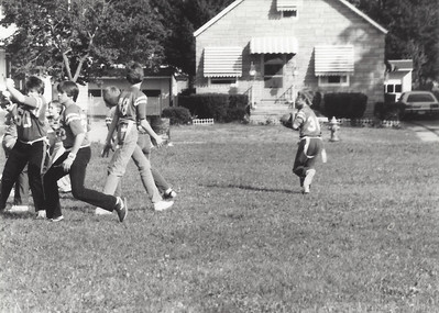 Dale's team playing flag football - I'm somewhere in this mess....