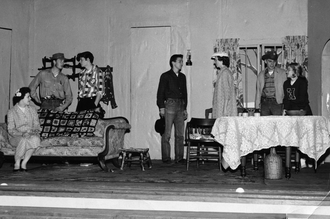 Left to right: Julia Burleson, Hugh Glenn, Albert Biddix, Charles Hicks Hefner, Carol Anne Leroy, Franklin Hefner, Rosalee Medford on stage in play in 1957.