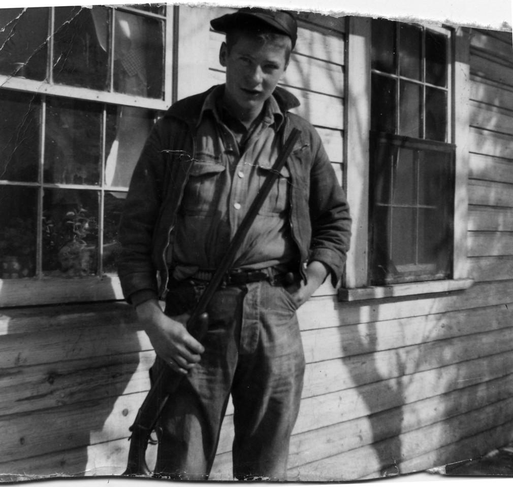 Hugh Taylor Glenn in 1953 behind Taylor Toney and Nora Mace Glenn's home in Little Switzerland, NC