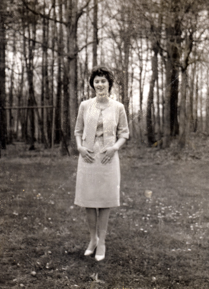 Mary Carolyn Mitchell circa 1961 in a dress she made. This was shot at Easter.