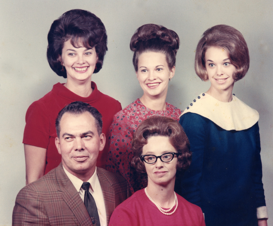 """Back row: Mary Carolyn Mitchell Glenn, Mildred June Mitchell Stamey, Janice Mitchell. Front: Harry Lee Burton """"Bert"""" Mitchell and Lillie Mae """"Tiny"""" Fox Mitchell. Family Portrait circa 1965. Mildred was pregnant with Kimberly Lynette Stamey."""