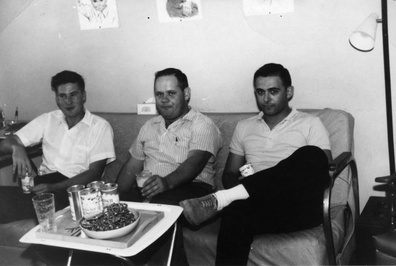 Hugh Taylor Glenn, Ben Lockhart, and Jack Litchman at Orlando V. Jamandra's house in Killeen, Texas, circa 1962
