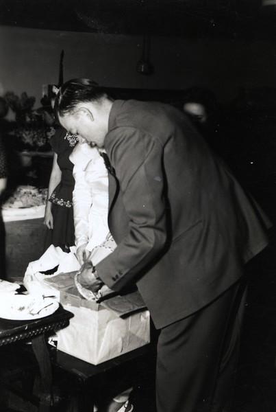 Eddie opening gifts - June 6, 1948 - Swedish SDA Church, Jamestown, NY