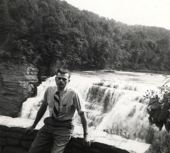 Eddie, 1948 at Waterfalls in NY (Glens Falls, NY)