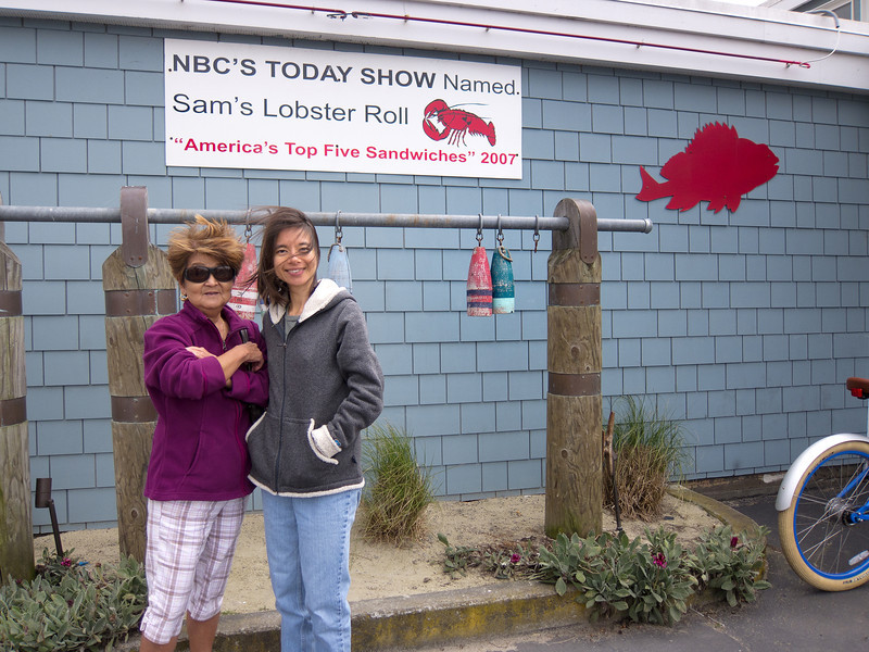 Mom and Shalimar near the entrance of Sam's Chowder House. We were told it was going to be a thirty minute wait, but they sat us in about ten minutes. :-)