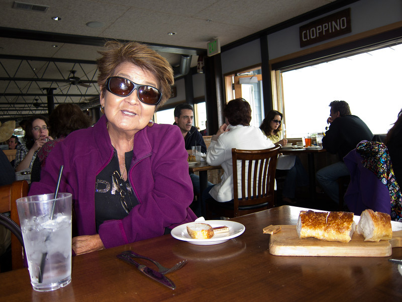 Mom is waiting for her New England clam chowder. Sam's Chowder House has a great view of the Pacific Ocean.