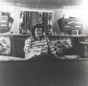 1949 - Pat. Pregnant. Inside trailer, Berien Springs, MI