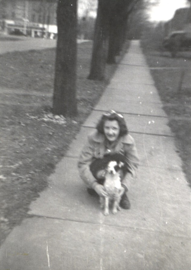 "Patricia with Phylis' dog ""Patches"" 14 years old"