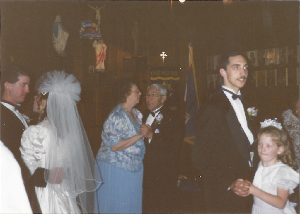 Elaine (Franduto) and Brian McCann's wedding - pictured Brian, Elaine, Grace, Frank, Tim and ?