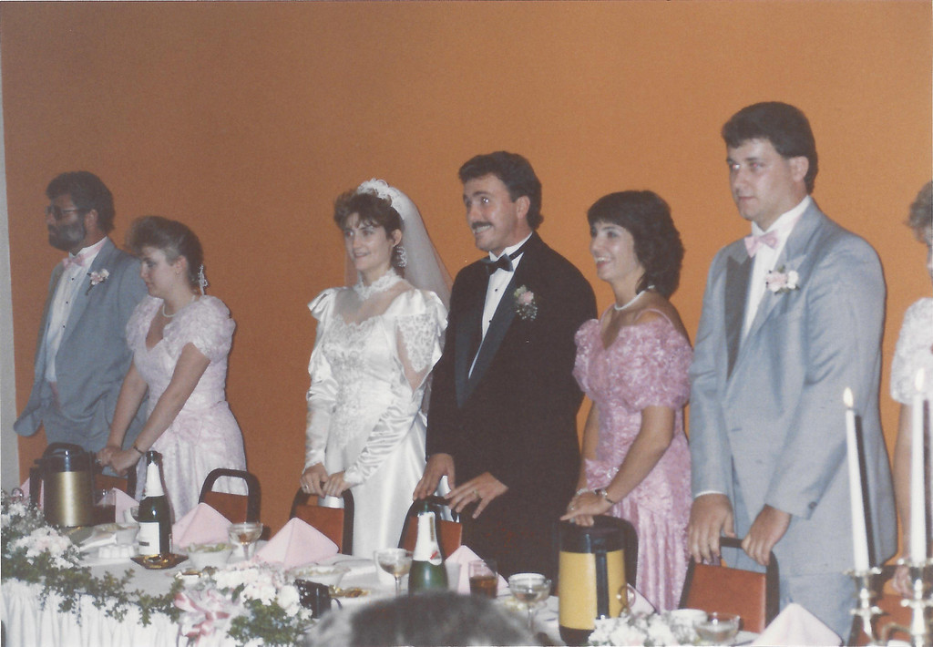 Mike and Jackie at their wedding.  Jumbo, Helga, Nancy and John (Jackie's brother)