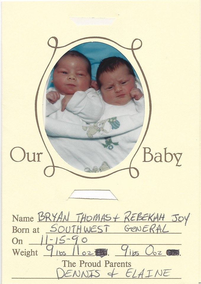 Bryan Thomas McDonald + Rebekah Joy McDonald - Weight: Bryan 9lbs 11ozs, Rebekah 9lbs 0ozs