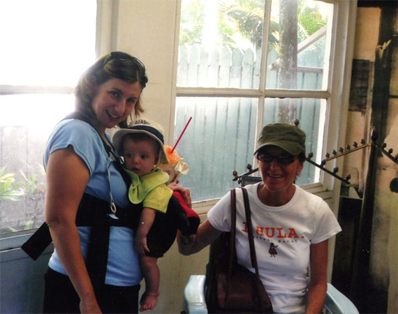 Mom, Amy and Elliot in Kauai