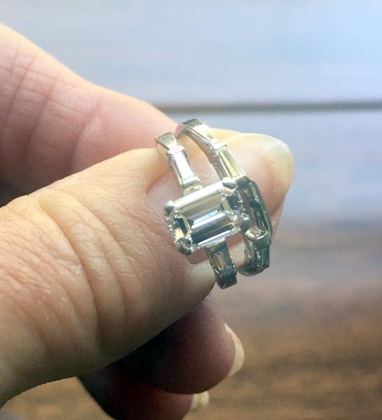 12. Rhea/Stanley ring set, 1-carat diamond, tapered baguettes