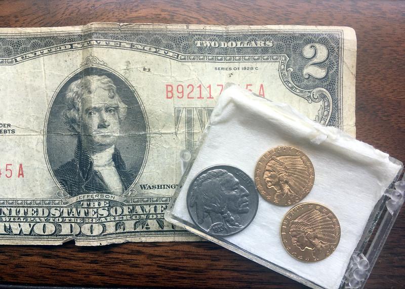 22, 23, 24, 25. 1928 $2 bill; 1935 Indian/buffalo nickel; 1910 Indian head $2.50 gold piece; 1913 Indian head $2.50 gold piece