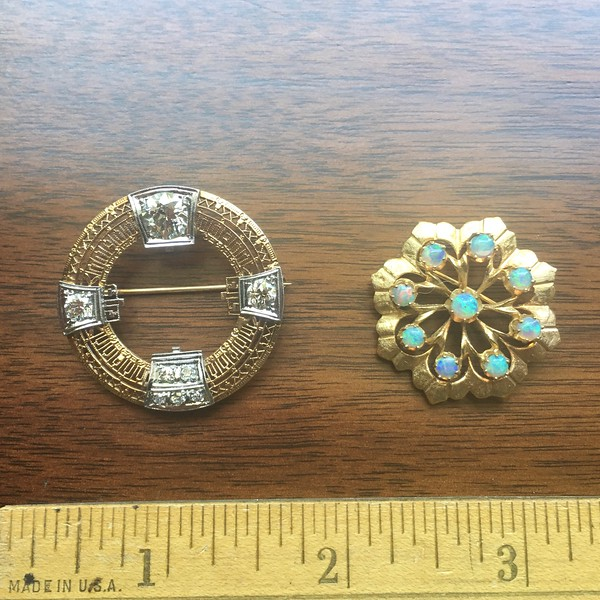8, 9. Filigree pin with diamonds; flower pin with opals