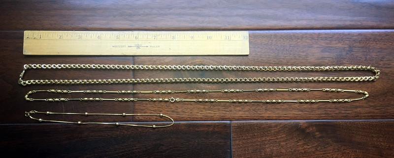 "13, 14, 15. 39"" 14k necklace; 36"" 18k necklace; 16"" 18k necklace"