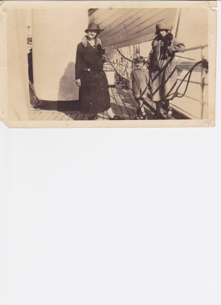 "On the back, this photo says - in my grandmother's handwriting, ""November 16, 1925 On 'Manchuria' about to sail from Los Angeles.""  <br /> <br /> Great-grandmother B is on the left, then Mom, then Mom's mother whom we called Yani.  (Lucile Collins Rose.)  <br /> <br /> When she was 5, my mom's father got a job working in the tin mines in La Paz, Bolivia.  Going to Bolivia is all the sailing I've heard of anyone doing, so I assume they're on their way.<br /> <br /> Condors are very big and very scary, that's what my mom said about Bolivia."