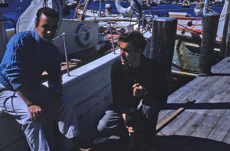 Rob and John at Falmouth?. Bowdoin in background. 1958.